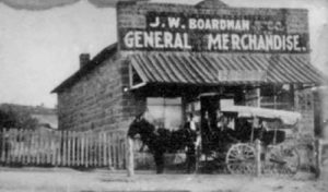 Boardman's original store, at what is now the NW corner of Main St. and McLane.